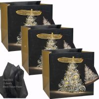White Tree on Black Gold Foil Art Gift Bags 15 x 14.5 x 11.5cm SMALL Pack of 3